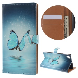 Illustration Leather Wallet Stand Cover for Sony Xperia E5 - Blue Butterfly on the Water