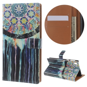 Patterned Wallet Stand Leather Folio Shell for Sony Xperia E5 - Tribal Dreamcatcher