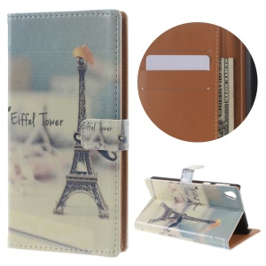 Pattern Printing Leather Wallet Stand Case for Sony Xperia E5 - Eiffel Tower and Mustache