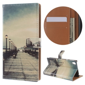 Pattern Printing Stand Leather Wallet Cover for Sony Xperia E5 - Dock at Sunset
