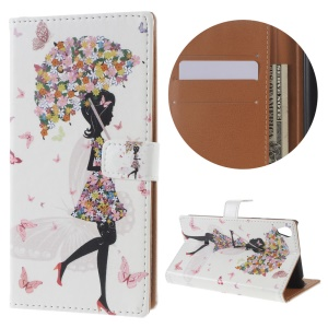 Diary Style Stand Leather Wallet Case for Sony Xperia E5 - Flowered Girl and Butterflies