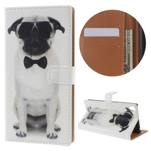 Diary Style Wallet Leather Stand Cover for Sony Xperia E5 - Dog Wearing Sunglasses