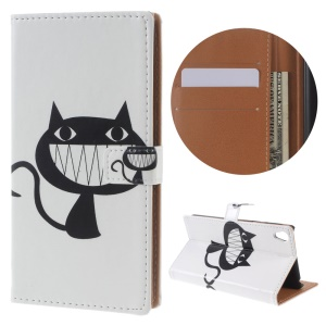 Pattern Printing Leather Wallet Stand Shell for Sony Xperia E5 - Black Cat Smiling