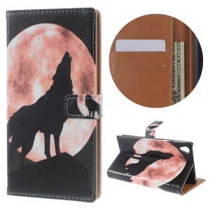 Illustration PU Leather Wallet Stand Case for Sony Xperia E5 - Wolf Howling at the Moon