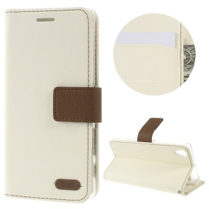 ROAR KOREA Twill Grain Leather Wallet Cover for Sony Xperia X - White