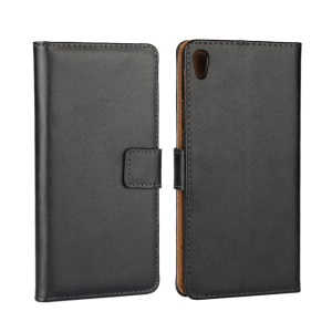 Genuine Split Leather Wallet Stand Case for Sony Xperia E5 - Black