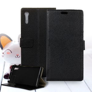 Litchi Skin Leather Wallet Case for Sony Xperia XZ - Black