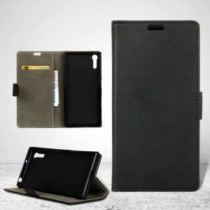 Wallet Leather Stand Case for Sony Xperia XZ - Black