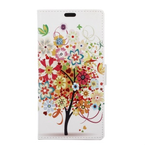 Leather Stand Case with Stand for Sony Xperia XZ - Flowered Tree