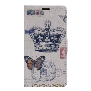 Leather Stand Cover with Stand for Sony Xperia XZ - Crown and Butterfly