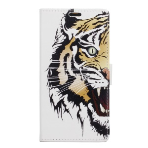PU Leather Wallet Case for Sony Xperia XZ - Fierce Tiger