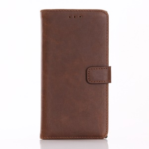 Crazy Horse Retro Leather Wallet Stand Shell pour Sony Xperia XZs / XZ - café