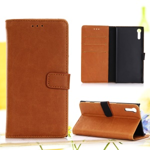 Retro Crazy Horse Flip Leather Wallet Stand Cover for Sony Xperia XZ - Brown
