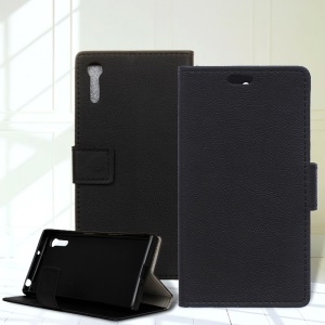 Wallet Leather Cover with Stand Case for Sony Xperia XZ - Black