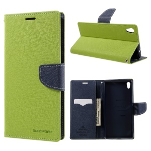 MERCURY GOOSPERY Wallet Leather Stand Case for Sony Xperia XA Ultra - Green