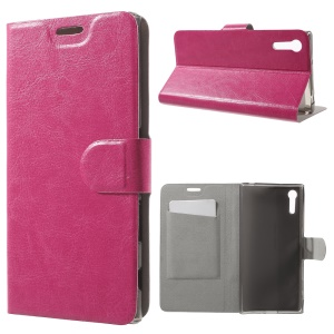 Crazy Horse Leather Card Holder Stand Cover for Sony Xperia XZ - Rose