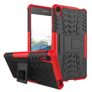Anti-slip PC + TPU Hybrid Case Cover for Sony Xperia E5 with Kickstand - Red