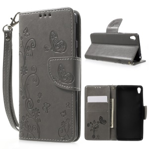 Imprint Flower Wallet Leather Cover with Wrist Strap for Sony Xperia E5 - Grey