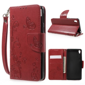 Imprint Flower Wallet Leather Case with Lanyard for Sony Xperia E5 - Red