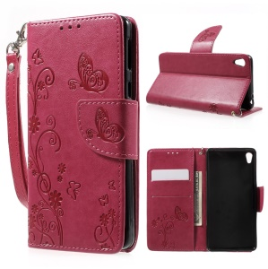 Imprint Flower Wallet Leather Stand Cover with Lanyard for Sony Xperia E5 - Rose