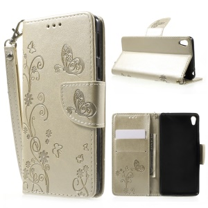 Imprint Flower Wallet Leather Stand Case with Hand Strap for Sony Xperia E5 - Gold
