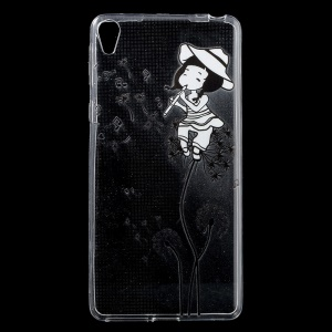 Patterned IMD Gel TPU Cover for Sony Xperia E5 - Girl Playing the Flute