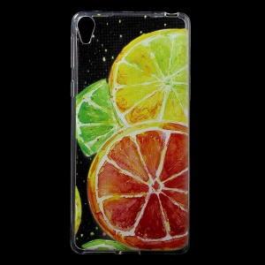 Patterned IMD Gel TPU Cover for Sony Xperia E5 - Lemon