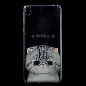 Patterned IMD Gel TPU Cover for Sony Xperia E5 - Adorable Cat