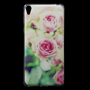 Patterned IMD Gel TPU Cover for Sony Xperia E5 - Pretty Rose Flower