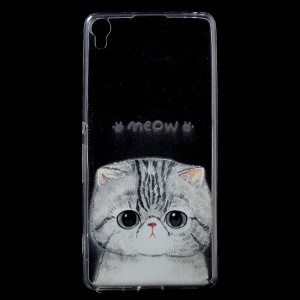 Patterned IMD Flexible TPU Back Cover for Sony Xperia XA / XA Dual - Adorable Cat