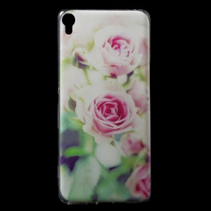 For Sony Xperia XA / XA Dual Patterned IMD Flexible TPU Back Cover - Pretty Flowers