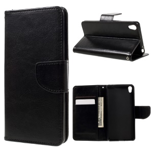 Wallet Stand Leather Flip Case for Sony Xperia E5 - Black