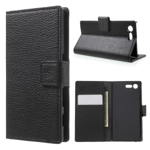 Litchi Texture Flip Leather Wallet Case for Sony Xperia X Compact - Black