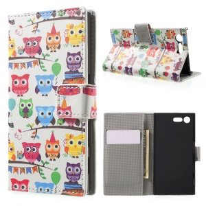 For Sony Xperia X Compact Pattern Printing Folio Leather Wallet Stand Case - Multiple Colored Owls