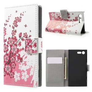 For Sony Xperia X Compact Pattern Printing Folio Leather Wallet Stand Cover - Plum Blossom