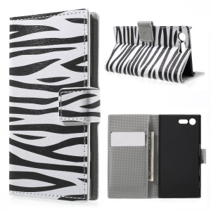 For Sony Xperia X Compact Folio Wallet Stand Leather Pattern Printing Shell  - Zebra Grain