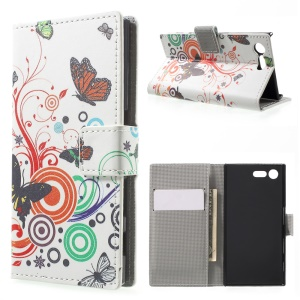For Sony Xperia X Compact Patterned Flip Magnetic Leather Wallet Stand Case - Butterfly and Circle