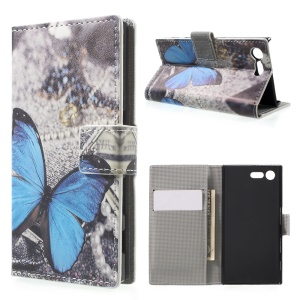 For Sony Xperia X Compact Illustration Wallet Stand Leather Flip Phone Shell - Blue Butterfly