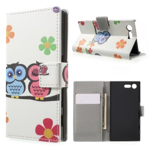 For Sony Xperia X Compact Folio PU Leather Wallet Stand Pattern Printing Case - Owl Couple