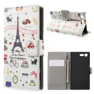 For Sony Xperia X Compact Pattern Printing Wallet Stand Leather Folio Cover - Palette Sweet Street