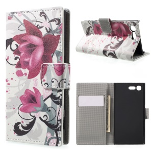 For Sony Xperia X Compact Patterned Folio Leather Wallet Stand Shell - Kapok Flower