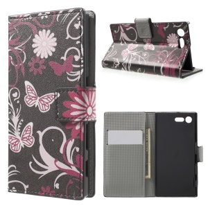 For Sony Xperia X Compact Pattern Printing Folio Wallet Leather Stand Case - Butterfly and Flower