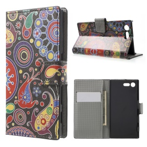 For Sony Xperia X Compact Pattern Printing Stand Leather Wallet Cover -  Paisley Pattern