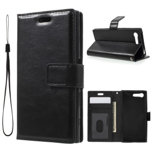 3-slot Wallet Crazy Horse Leather Case for Sony Xperia X Compact with Strap - Black
