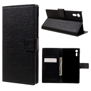 Litchi Texture Magnetic Leather Case Wallet Stand for Sony Xperia XZ - Black