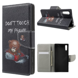 Patterned Leather Wallet Cover for Sony Xperia XZs / XZ - Cool Angry Bear