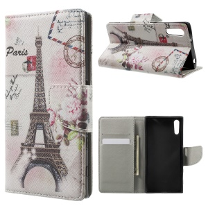 Patterned Leather Wallet Phone Case for Sony Xperia XZs / XZ - Paris Eiffel Tower
