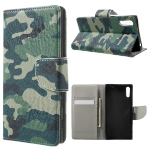 Patterned Leather Wallet Flip Cover for Sony Xperia XZs / XZ - Camouflage Pattern