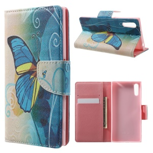 Patterned Leather Wallet Case for Sony Xperia XZ - Blue Butterfly