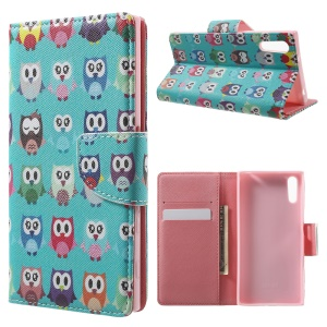 Patterned Leather Wallet Case for Sony Xperia XZ - Multiple Owls
